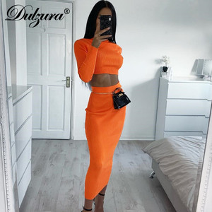 Dulzura 2019 autumn winter women two piece set crop top long skirt matching sets streetwear elegant clothes tracksuit co ord set
