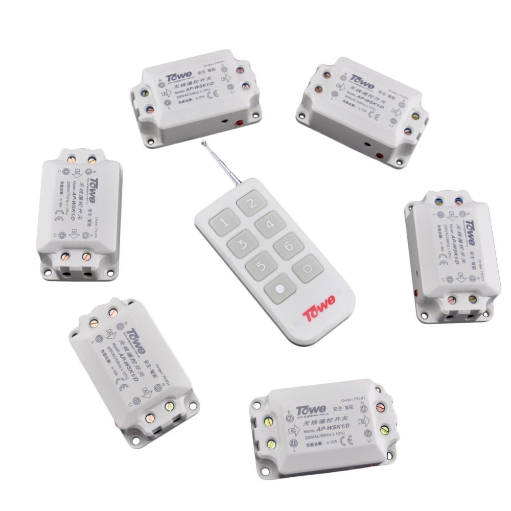 TOWE AP-WSK1/D-6 Wireless 220V 10A Six Way 1 Controller Through Wall Villa Use Remote Control Switch