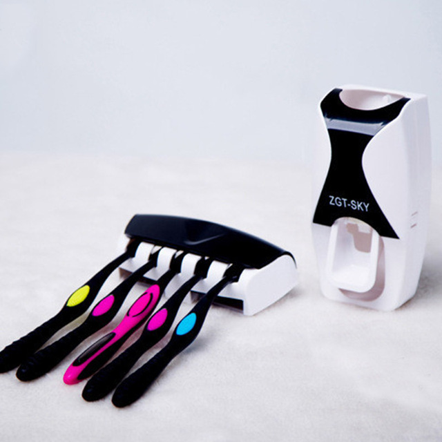 1 set di Modo Distributore Automatico di Dentifricio Famiglia Titolare 5 Spazzolino Da Denti Bagno di Famiglia di Montaggio A Parete Del Basamento Bagno Strumenti