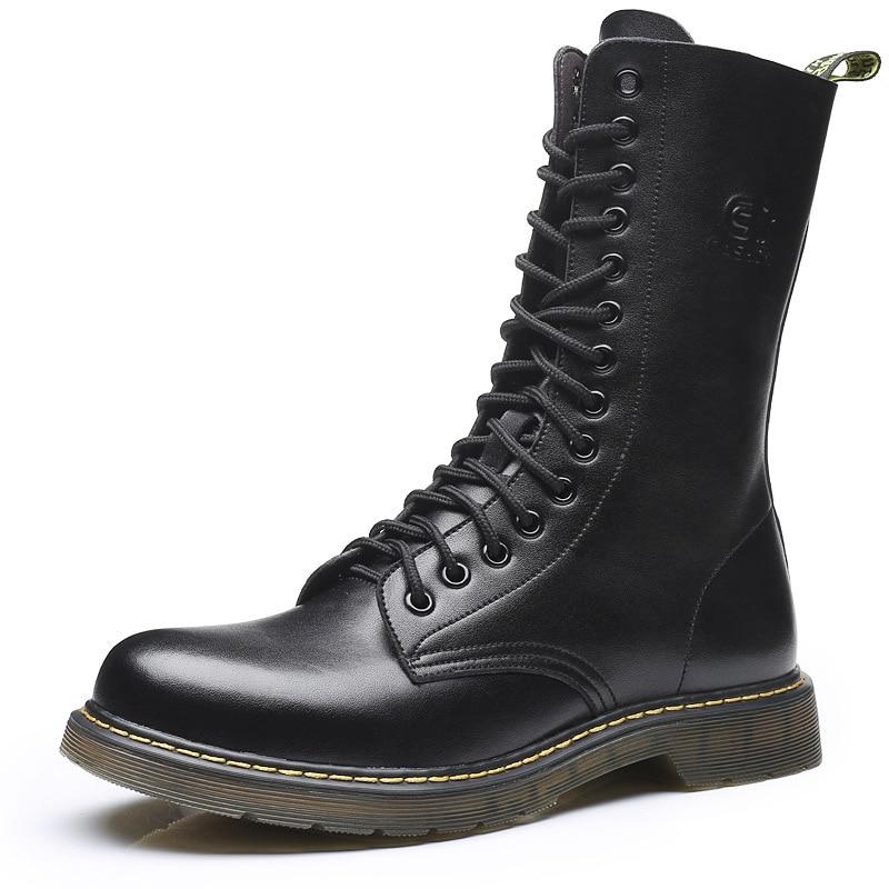 2018 zimski novi usnjeni škornji Martin plus žametni drsni moški - Moški čevlji
