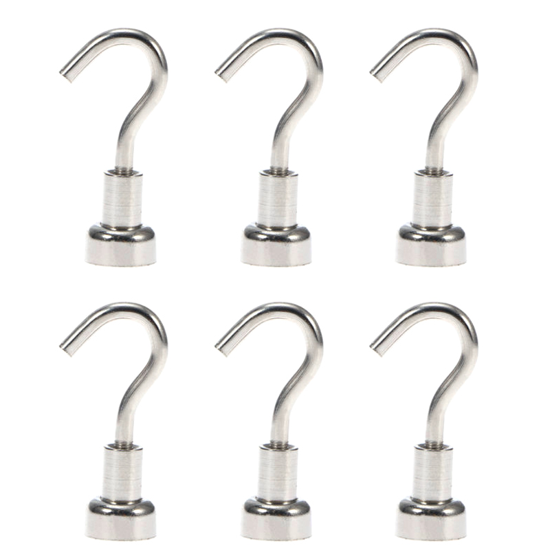 4pcs Magnetic Hooks Powerful Heavy Duty Neodymium Magnet Refrigerator Surfaces Not Scratch TB Sale