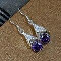 E208 Wholesalesilver banhado amor bonito brincos, Moda jóias de prata, Embutidos Purple Stone Cone brincos / asxajkeasb