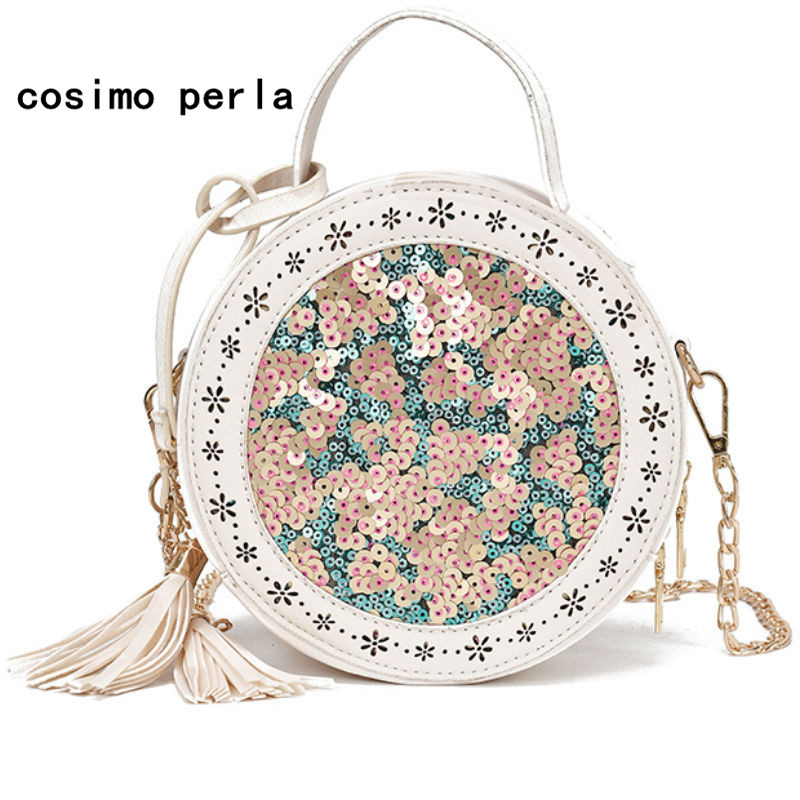 Lady Sequins Bling Tassel Chain Leather Shoulder Bags Circular Pink Crossbody Bag for Women Flap Purse Small Round Handbags 2018 цена