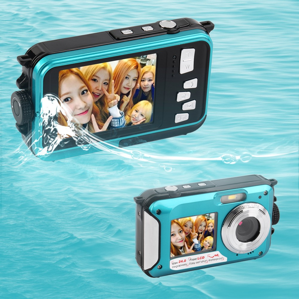 ФОТО 10 pcs 4 color 2.7inch TFT Digital Camera Waterproof 24MP MAX 1080P Double Screen 16x Digital Zoom Camcorder