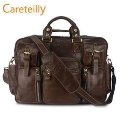 Careteilly de cuero de vaca bolsas de lona viajes de negocios bolsas de lona para hombres 4 colores opción