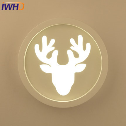 IWHD Iron deer Sconce Modern Led Wall Light Up Down Fashion Acrylic circular Wall Lamp Stair Children room Lighting Fixtures