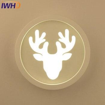 IWHD fer cerf applique applique murale moderne LED haut de la mode acrylique circulaire applique murale escalier enfants chambre luminaires