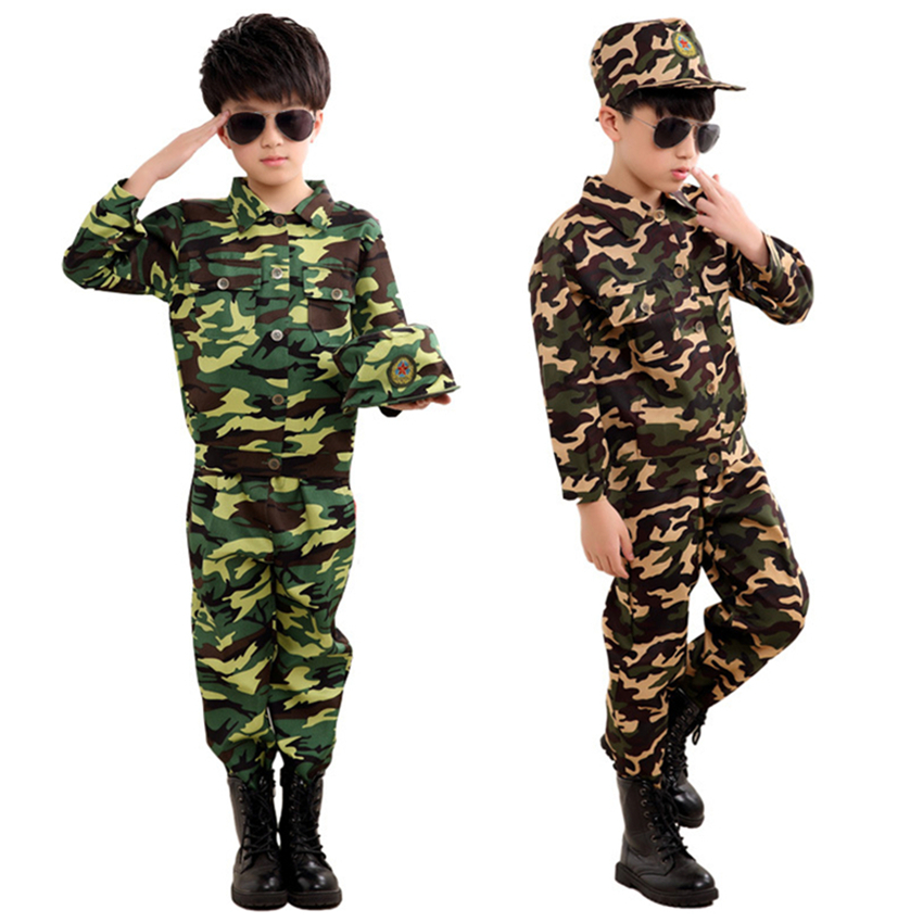Special Forces Kids Clothing Army Military Scouting Uniform Se Camouflage Coat+Pants+Hat Training Performance Costumes 100-180CM policemen costumes children s special police service boys army military uniform coat pants belt gloves hat performance cltohes