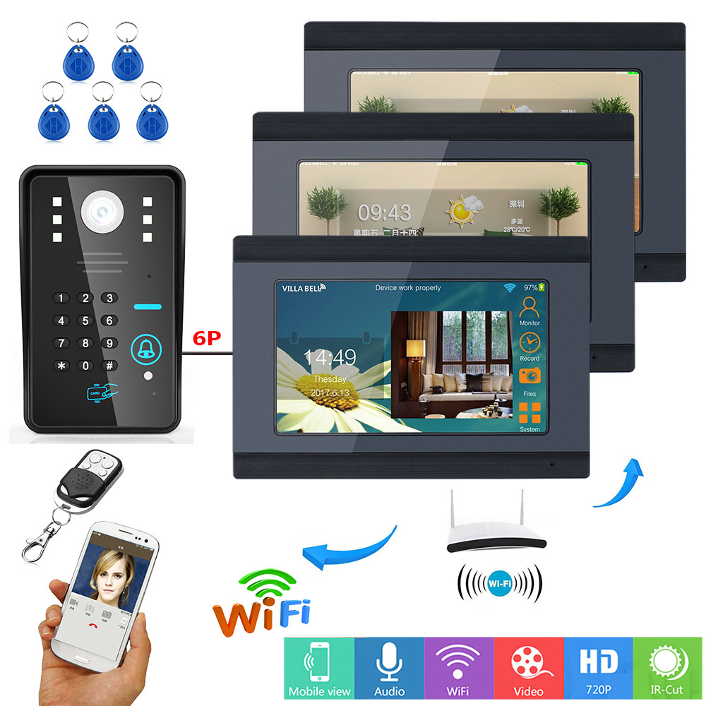 7inch 3 Monitors Wired / Wireless Wifi RFID Password Video Door Phone Doorbell Intercom Entry System with IR-CUT 1000TVL camera smartyiba 7inch 7inch wired wireless wifi rfid password video door phone doorbell intercom with ir cut 1000tvl camera