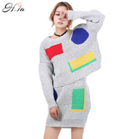2016 Women 2 Pcs Set Knitted Sweater Dresses Oneck Casual Short Mini Skirts High Quality Women