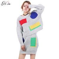 2016 Women 2 Pcs Set Knitted Sweater Dresses Oneck Casual Short Mini Skirts High Quality Women