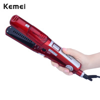 Kemei Professional Hair Flat Iron Ceramic Steam Vapor Spray LED Fast Heating Up Moisturizing Straightener Plate