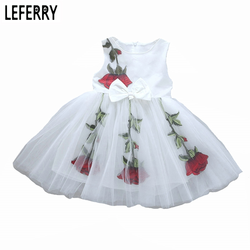 2017 Summer Girls Dresses Baby Girls Clothing Floral Mesh Sleeveless Kids Dresses for Girls Toddler Princess Dress New Fashion new summer toddler kids baby girls floral sleeveless princess dress flower tutu party dresses