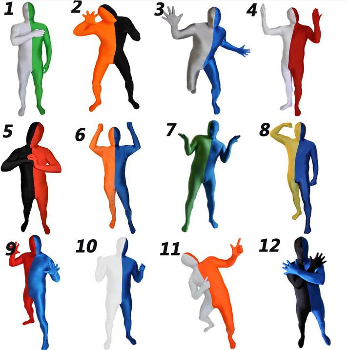 Watermonkey Brand Adult 2-color combination Multicolor Lycra Spandex Zentai Cosplay Costumes Fancy Suit