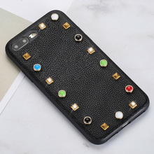 Wangcangli Genuine Leather Phone Case For iPhone 7P Litchi Texture rivet Back Cover 6 6S 7 8 Plus SE 5 5S Shell