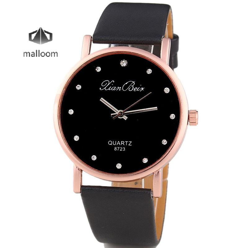 2018 New Luxury Fashion Quartz Watch Feminino Women's Diamond Leatheroid Band Round Dial Quartz Wrist Watch Clock Gift Hot Sales hot new fashion quartz watch women gift rainbow design leather band analog alloy quartz wrist watch clock relogio feminino