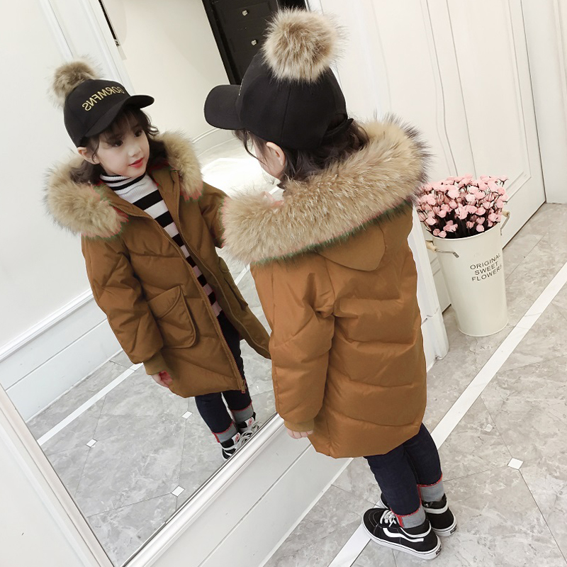 Real Raccon Fur Collar Kids Boys Girls Long Coat Winter 2018 New Thick Warm Hooded jacket White Duck Down Coats for girl JF371 winter children 80% white duck down jacket boys girls warm real fur collar hooded snow coat parka kids thick outerwear coat e249