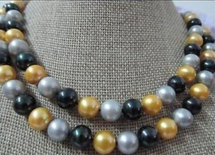 цена на 36 NATURAL10 MM SOUTH BLACK GRAY YELLOW Pearl Necklace Yellow Clasp