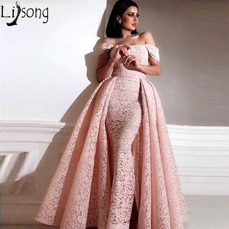 Saudi Arabic Pink Mermaid Lace Prom Dresses 2018 With Detachable Train Off Shoulder Elegant Formal Party Dress Abendkleider Gala