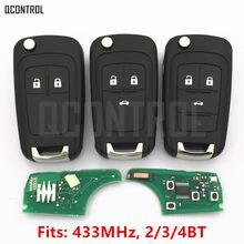 Chave remota de alarme automotivo QCONTROL, funciona com Chevrolet Malibu Cruze Aveo Spark Sail com 2/3/4 botões, travamento de porta de 433MHz