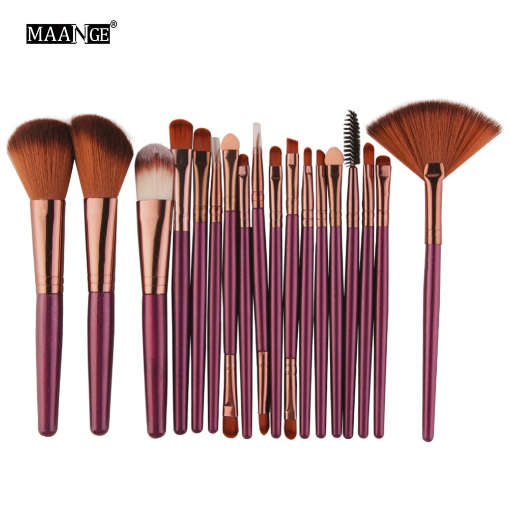 MAANGE 18Pcs Makeup Brushes Powder Foundation Blush Eye Shadow Fan Blending Brush Cosmetic Beauty Make Up Brushes Set Maquiagem 16pcs makeup brushes cosmetic set blush eye shadow foundation powder brush w bag powder make up soft brushes mquiagem