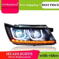 car styling For Dodge Avenger headlights U angel eyes 2009 2015 For Avenger LED light bar Q5 bi xenon lens LED Bulb projector