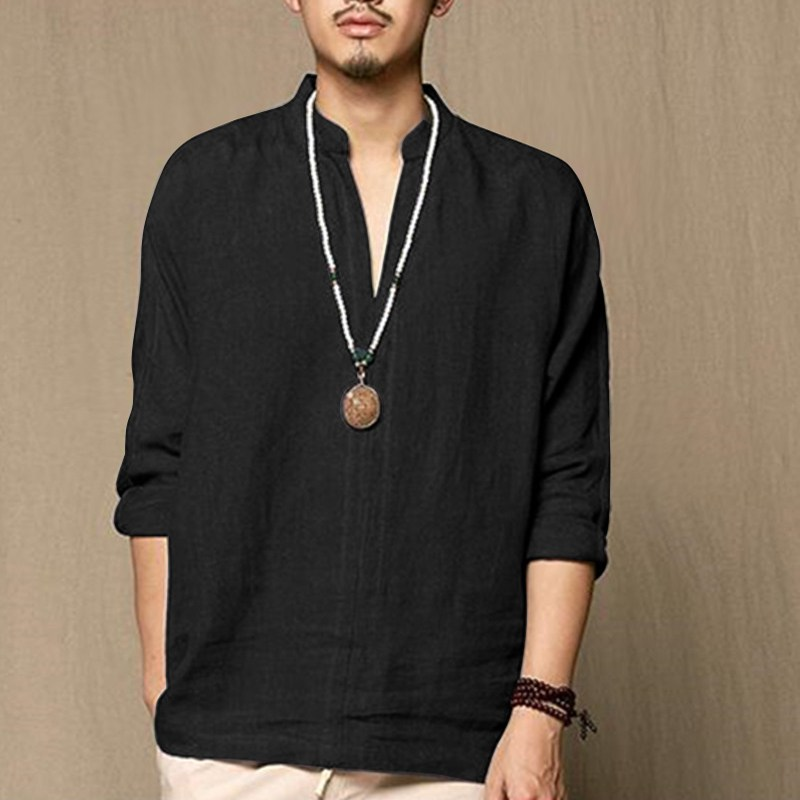 Chinese linen shirt men's casual breathable soft casual shirt long-sleeved men's 2018 new