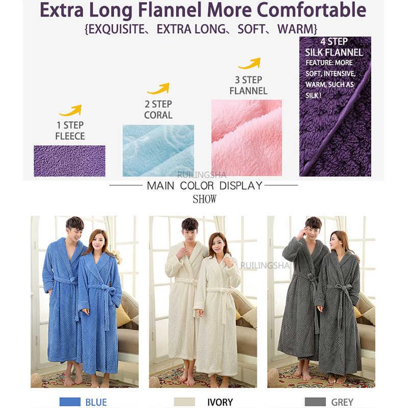 39e7ee41b1 ... Mens Extra Long Thick Warm Winter Bathrobe Silk Soft Waffle Flannel  Bath Robe Men Kimono Robes ...