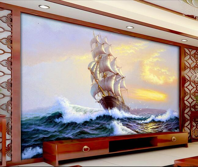 3d wallpaper custom mural non-woven wall stickers  European ships out to sea scenery setting wall photo wallpaper for walls 3 d