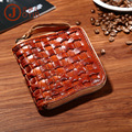 The new vegetable tanned leather casual Wallet Zipper Braided Leather Purse Wallet short