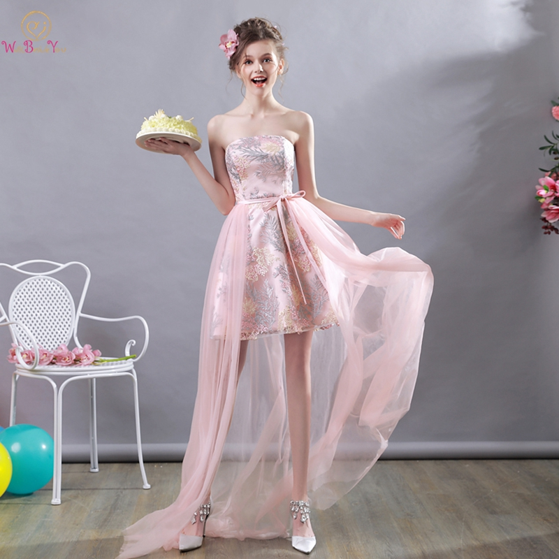 Pink   Prom     Dresses   2019 Lace Tulle Skirt Short Front Long Back Strapless Sweep Train Evening Party Gowns Graduation Vestidos Gala