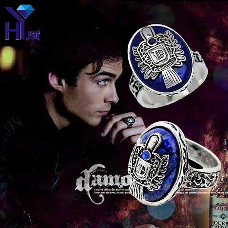 Vintage แวมไพร์ไดอารี่แหวน D Salvatore Damon Stefan's Elena Punk แหวน Lapis Lazuli คริสตัล Moives US 6-12