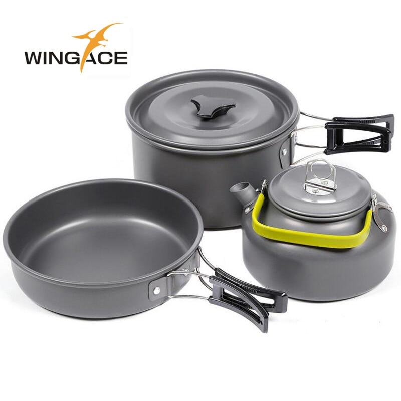 WINGACE Outdoor Camping Walking Utensils Tea Pot Camping Cookware Picnic Set Of Pots Tourist Tableware Kettle Frying Handle Pan