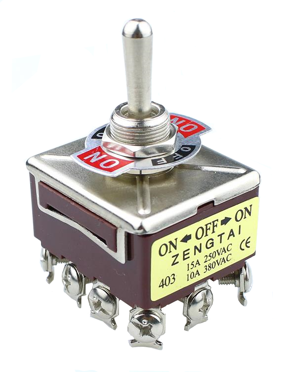 E-TEN 403 10A/380VAC 15A/250VAC 3 Position 4PDT ON/OFF/ON 12 Pin Toggle Switch 1PCS brown image