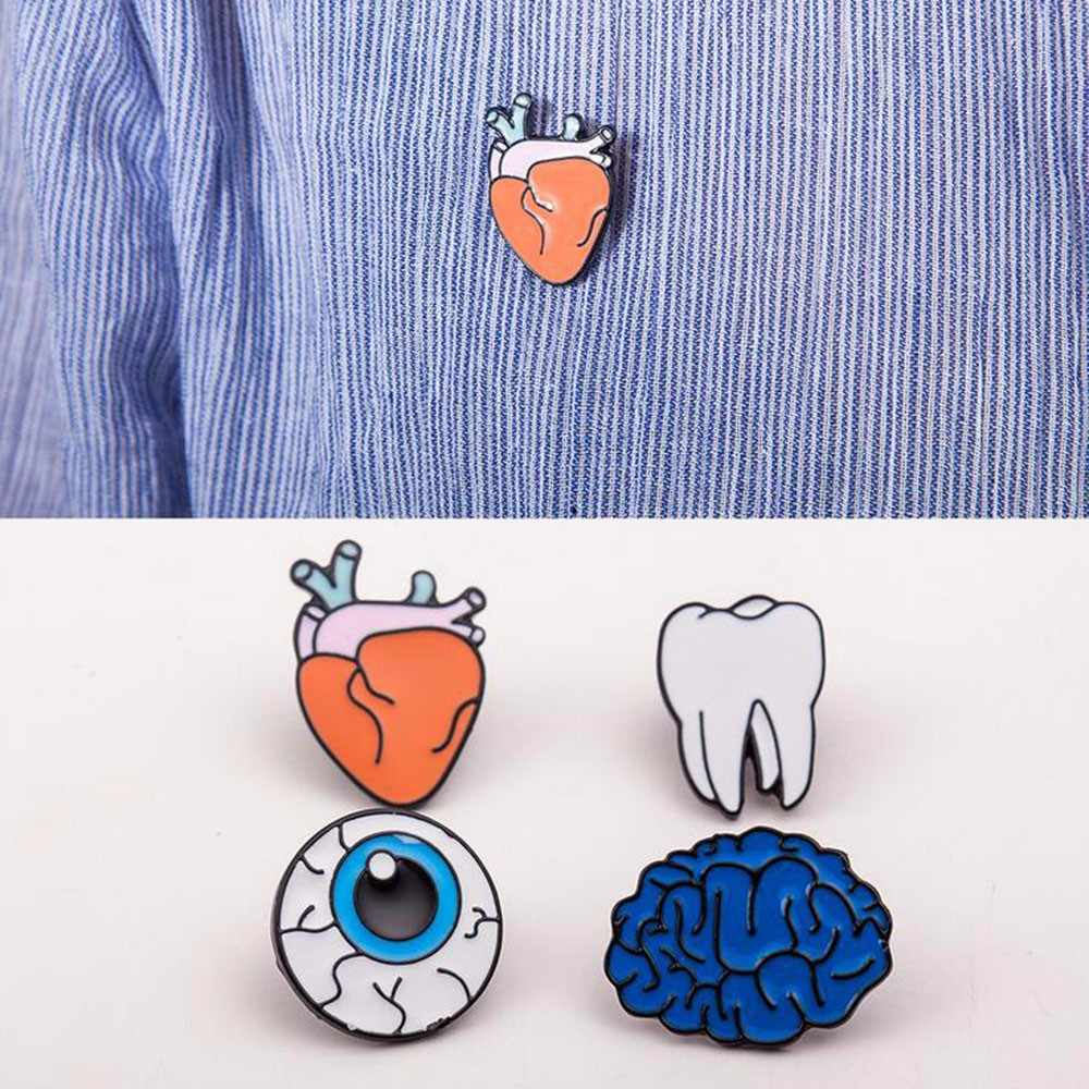 Wholesale 2017 Hot Cartoon Cute Brain Heart Eye Tooth Metal Brooch Pins Button Pins Girl Gift
