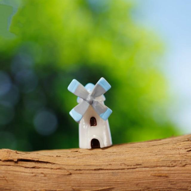 Sale 1pcs Windmill Fairy Garden Gnome Moss Terrarium Home Decor