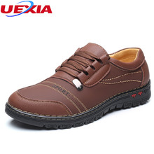 UEXIA Sneakers Leather Platform Shoes Men Lace-Up Fashion Flats Comfortable Casual Comfortable Breathable Sewing Split Leather