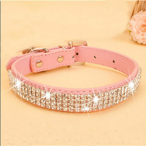Pets Collar HOT Rhinestone PU Leather Crystal Diamond Puppy Pink Red Pet Dog Collars