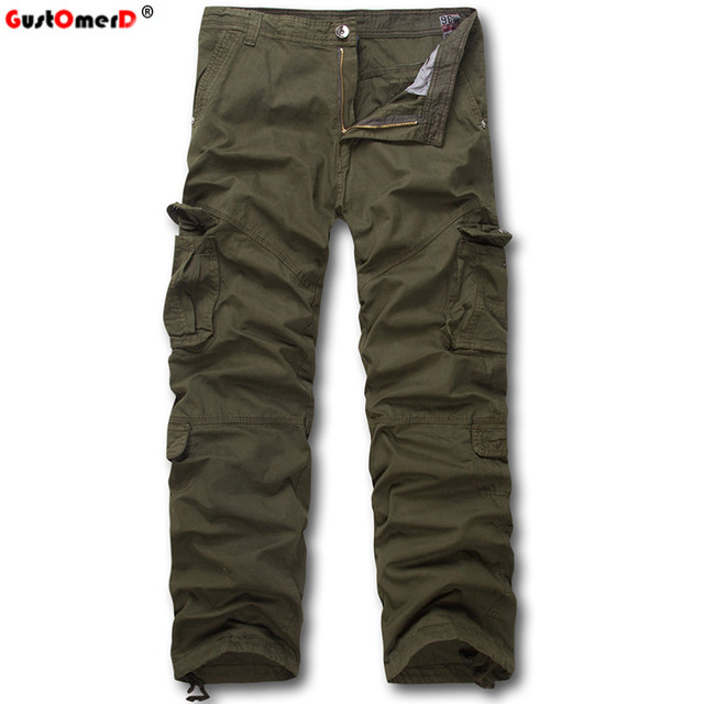 GustOmerD Pocket Decoration2016 New Fashion Brand High Quality Men Warm Pants Male Casual Trousers Cotton Cargo Pants