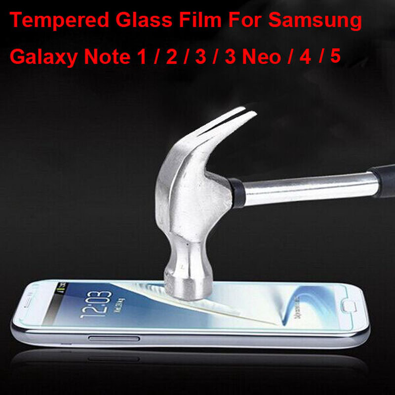 9H Tempered Glass Film Screen Protector For Samsung Galaxy Note N7000 i9220 / 2 N7100 / 3 N9000 / Neo N7505 / 4 N9100 / 5 N9200