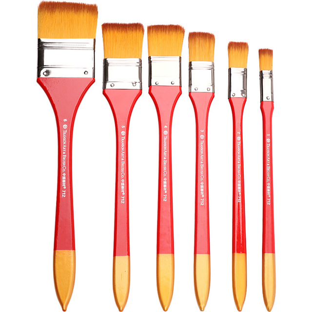 6Pcs Nylon Flache Kopf Schrubben Malerei Pinsel Set Mix Größe Lange Griff Öl Farbe Acryl Wand Malerei Pinsel Kunst liefert