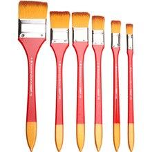 Conjunto de pinceles de pintura con cabeza plana de nailon, 6 uds., pintura acrílica con mango largo y tamaño variado, pincel para pintura de pared