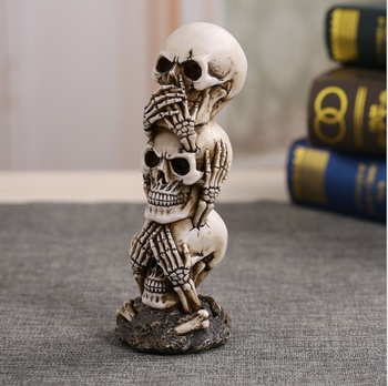 Free Shipping Resin Craft Human Skull Statue High Quality Creative Statue Sculpture Gift Home Decoration Human Skull 1