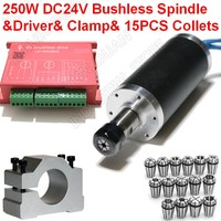 250W 53Ncm 12000rpm DC24V Brushless Spindle 42mm Motor + Driver + Clamp & 15pcs ER11 Collets Match MACH3 for Metal Wood PVC New