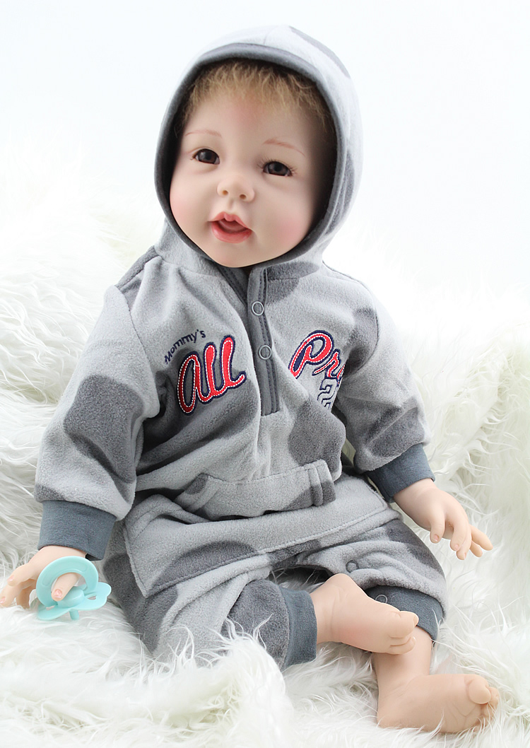22 Inch 55CM Reborn Baby Dolls Lifelike Soft Silicone Vinyl Newborn Babies Fashion Doll Kids Classic Toys Children Gifts 22 inch 55cm baby reborn silicone dolls lifelike doll reborn babies for children s toys fashion sky blue set doll