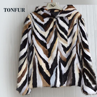 Female Winter Autumn New Arrivals Free Shipping Striped Natural Mink Fur Coat hoodies Real Fur Mink Jacket sr421