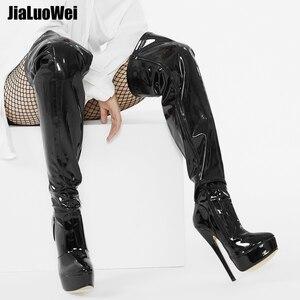 Image 4 - Jialuowei 여자 PU 가죽 섹시한 패션 무릎 부츠 섹시한 7 인치 울트라 하이힐 부츠 플랫폼 숙녀 부츠 size36 46