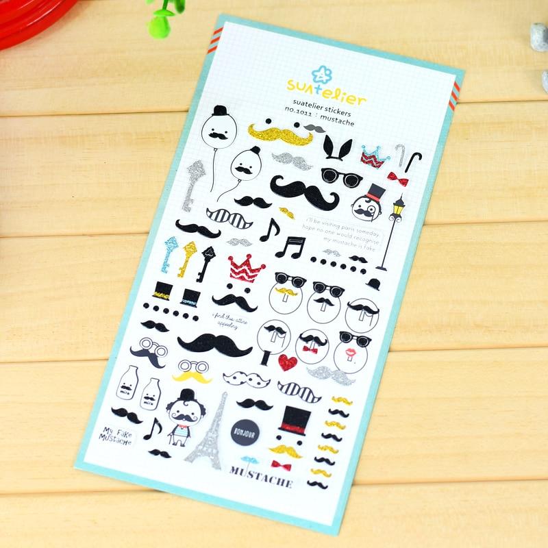 suatelier PVC plastic cute cartoon beard decorative stickers scrapbooking planner notebook home decoration