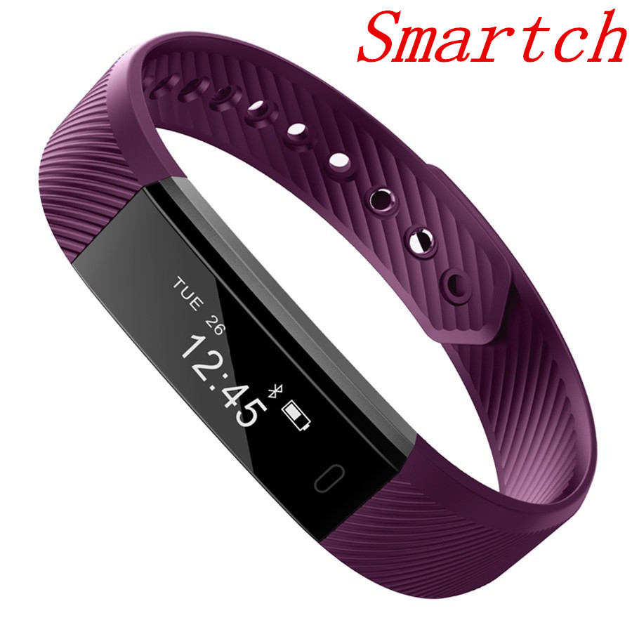 Smartch New Smart bracelet ID115 Smart band fitness Tracker Clock Smart Wristband Call SMS Alert for IOS android