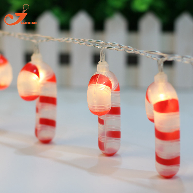 Crutch string lights fairy candy led Christmas light home garden lights  santa walking stick battery powered party 3V AA indoor - Crutch String Lights Fairy Candy Led Christmas Light Home Garden